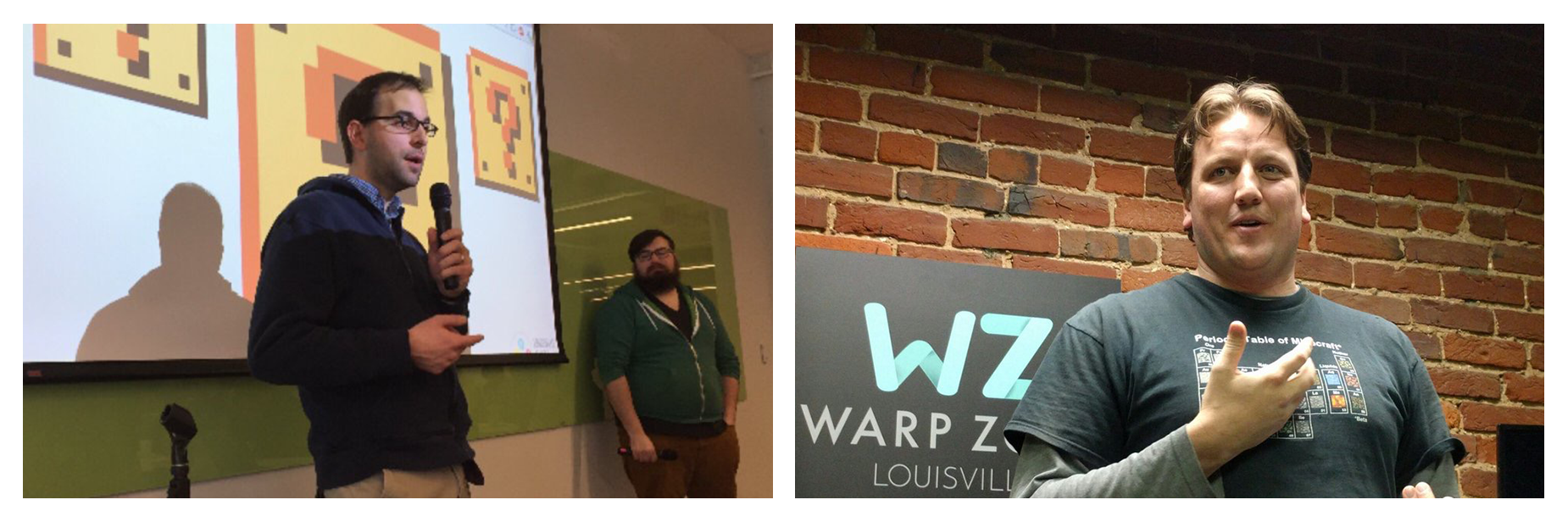 Left, Stephen Abrams and Alex Bezuska, Louisville Makes Games Board members speaking at Humana DEC | (right) Joseph Baird of Third Rail Games speaking at Warp Zone Louisville game developer