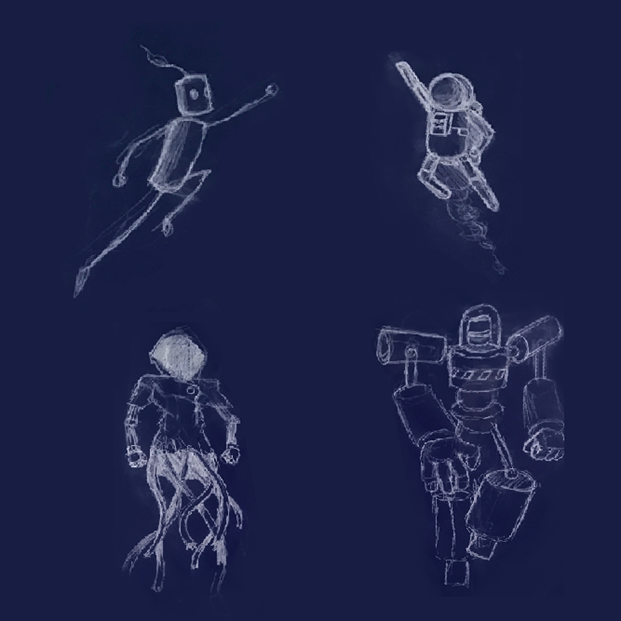 Kick Bot DX character concept art sketches